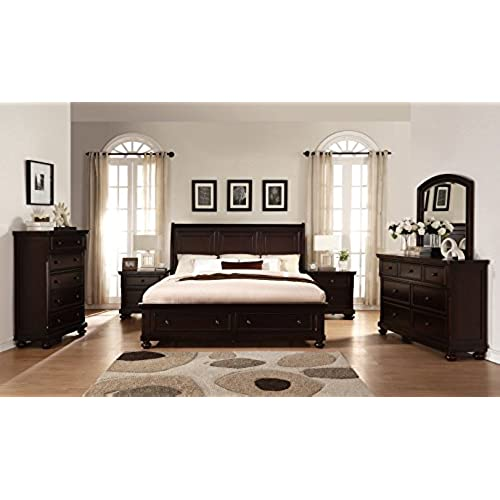 contemporary bedroom sets king. Roundhill Furniture B088KDMN2C Brishland Rustic Cherry Storage King Bed  Dresser Mirror 2 Nightstands Chest Bedroom set Contemporary Set Amazon com