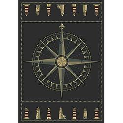 United Weavers of America Contours Collection Compass Rose Heavyweight Heatset Olefin Rug, 5-Feet 3-Inch 7-Feet 6-Inch, Smoke Blue