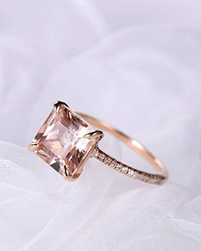 Morganite Engagement Ring Princess Cut Rose Gold 925 Sterling Silver CZ Thin Band Solitaire Ring Eternity by Milejewel Morganite Engagement Ring (Image #2)