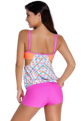 LOVEOURS,Las Rayas De Las Alineados Double Up 2pcs Top Tankini Traje de Baño Ropa de Playa Conjunto de Las Mujeres Color7