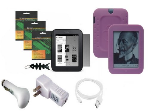 iShoppingdeals - for Barnes & Noble NOOK Simple Touch Wi-Fi (2nd Generation): Pink Silicone Case Skin, Car Charger, Travel AC Charger, USB Data Cable, Screen Protector, and Smart Headphone Wrap by iShoppingdeals