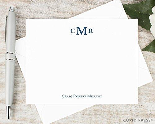 amazon com simple monogram personalized flat stationery set