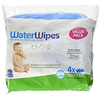 WaterWipes Textured, Sensitive, Unscented Baby and Toddler Soapberry Wipes, 4 Packs (240 Wipes)