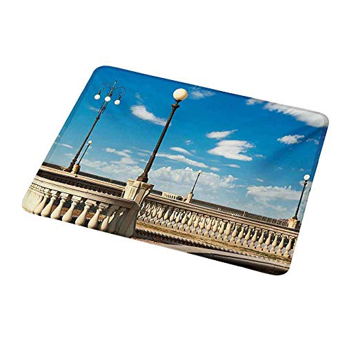 Art Mousepad Italian,Mascagni Terrace Street Promenade of Livorno Tuscany Artwork Print,Sky Blue White and Black,Standard Size Rectangle Non-Slip Rubber Mousepad 9.8