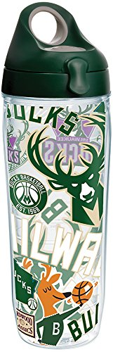 fan products of Tervis 1276762 NBA Milwaukee Bucks All Over Tumbler with Wrap and Hunter Green with Gray Lid 24oz Water Bottle, Clear
