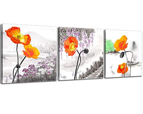- NAN Wind Small Size Poppy Flowers Canvas Prints 3 Panels Wood Framed Orange Poppy Print Wall Art Flowers Print Painting 12x12inches 3pcs/Set