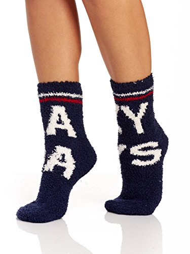 PJ Salvage Smile Face Slipper Sock, Navy, (Pj Salvage Womens Slippers)
