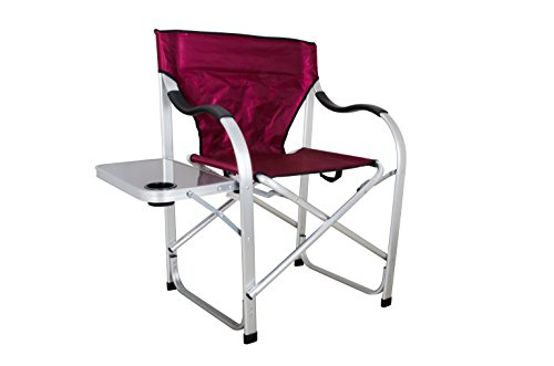 Stylish Camping SL1215 Burgundy Heavy Duty Folding Camping Director Chair with Side table (Rocking Side Table)