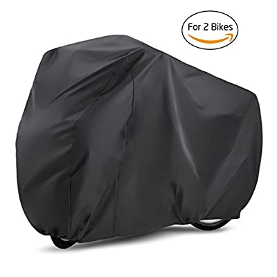 Bike Cover , Gvoo Bike Cover for Two 190T Outdoor Waterproof UV Protection Bicycle Cover for Mountain Bike, Road Bike Racing bike - Black&Silver