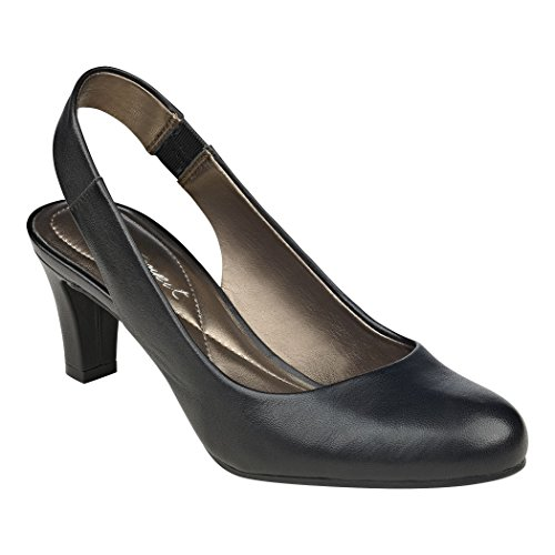 West Black Leather Slingback Pumps (Easy Spirit Womens Audrina Slingback Pump,Black/Black Leather,US 6.5 M)
