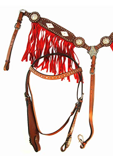 Western Headstall BREASTCOLLAR Silver Concho BUCKSTITCH RED Fringe Basket Weave Tooled Leather Show Horse Bridle Set
