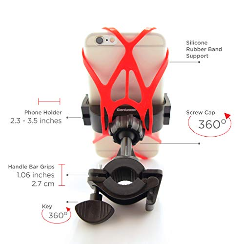 Bike Cell Phone Mount | Universal Bicycle & Motorcycle Smartphone Holder | 360° Rotating Handlebar...