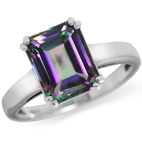4.53ct. Mystic Fire Topaz 925 Sterling Silver Solitaire Ring Size 8 ()