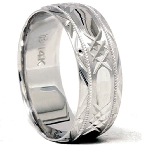 Hand Carved Wedding Band 14K White Gold (Hand Carved Wedding Band)