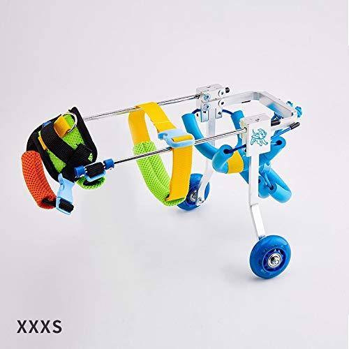 麻痺障害犬補助用品、犬車椅子老犬スクーター、障害犬支援後肢スポーツカー、自由に調整可能なサイズ、大型補助ブラケット車椅子麻痺障害犬ブルー (Color : XXXS) XXXS
