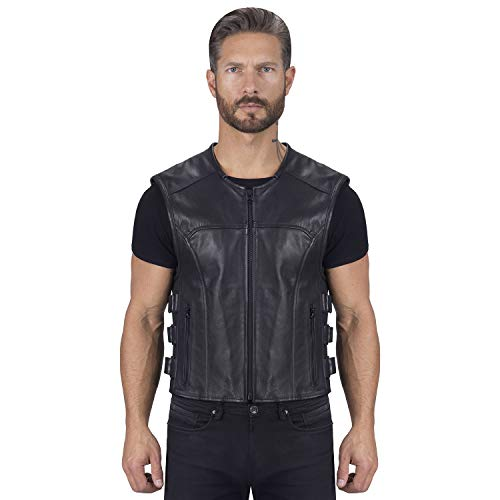 Viking Cycle Odin Leather Motorcycle Vest for Men (2XL)