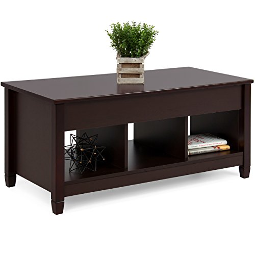Espresso Collection Foyer Table - Best Choice Products Multifunctional Modern Lift Top Coffee Table Desk Dining Furniture for Home, Living Room, Décor, Display w/Hidden Storage and Lift Tabletop - Espresso