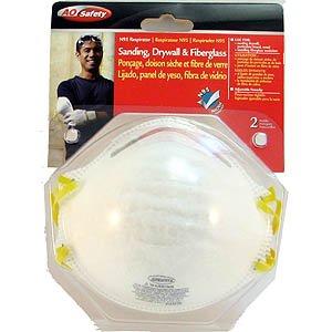 AO Safety N95 Sanding, Drywall, & Fiberglass Respirators 2 P