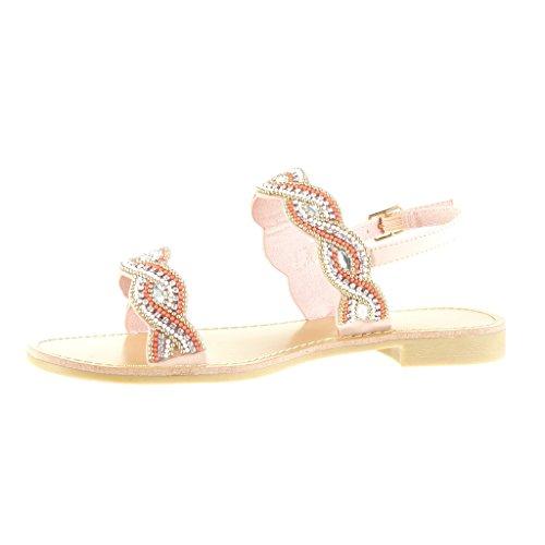 Angkorly - damen Schuhe Sandalen - Offen - Perle - Schmuck Blockabsatz 2 CM  - Rosa ...