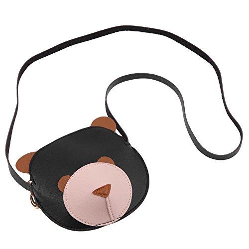 PU Kids Wallet Printed Bear Bag Crossbody Shoulder Cute Children Black Mini Sling Domybest Purse Small ZwxgFnqz