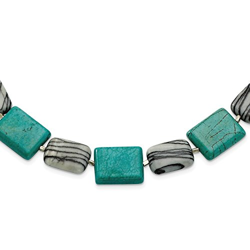 925 Sterling Silver Dyed Howlite Zebra Jasper Chain Necklace Pendant Charm Gemstone Fine Jewelry Gifts For Women For Her