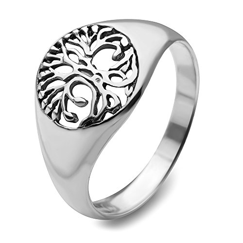 (Chuvora 925 Sterling Silver Open Filigree Tree of Life Symbol Ring for Women Size 7 - Nickel Free)