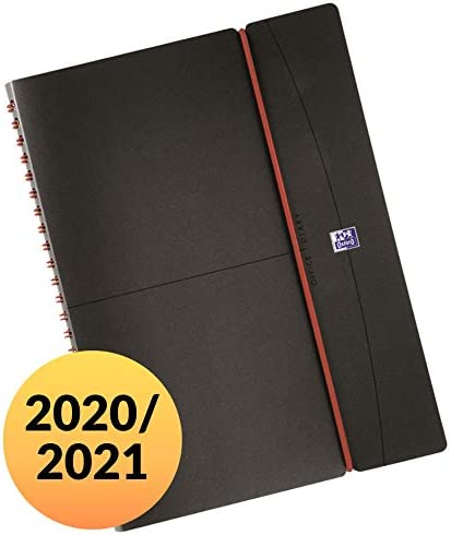 Oxford Lehrerkalender 2020/2021 DIN A4 Format 22x30 cm mit 80 Blatt 90 g/m² Papier SCRIBZEE kompatibel dunkelgrau Planer für Lehrer