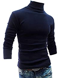 Mens Long Sleeve Turtleneck Warm Thick Solid Thermal T-shirt