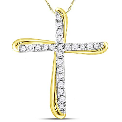 Jawa Jewelers 14kt Two-Tone Gold Womens Round Diamond Cross Pendant 1/8 Cttw