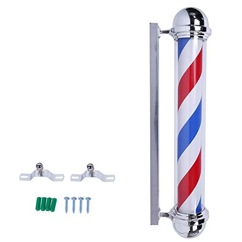 """AIPOLE 39"""" Round Top LED Barber Pole Lamp Rotating & Illuminated Red Blue White Stripes Light Attractive Salon Hair Barber Shop Sign by AIPOLE (Image #3)"""