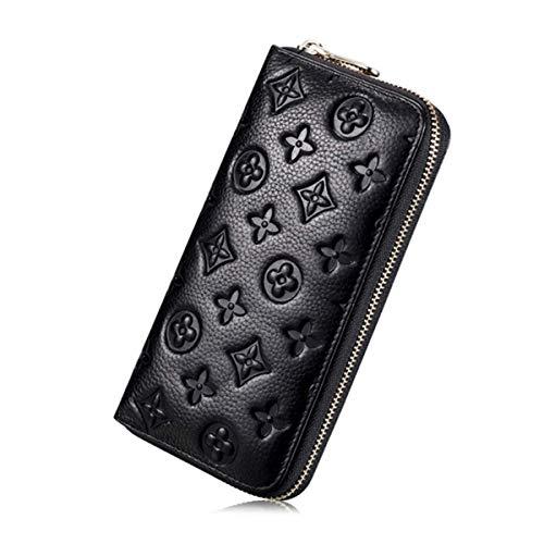 Auner Women RFID Blocking Wallet Leather Zip Around Clutch Large Travel Purse (Black)