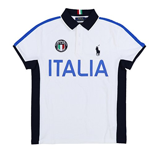 Polo Ralph Lauren Mens Custom Slim Fit Country Polo Shirt (Medium, White Italia) ()