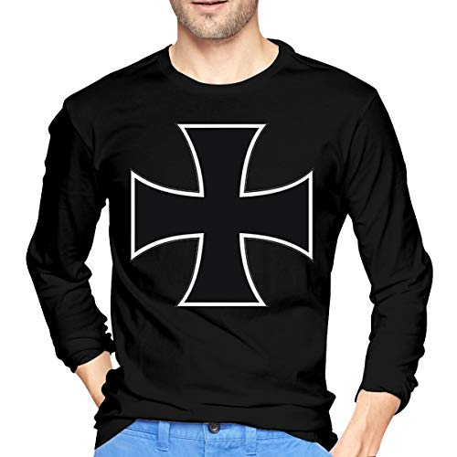 Basic Maltese Cross Men's Long Sleeve Cotton Jersey Shirt Black