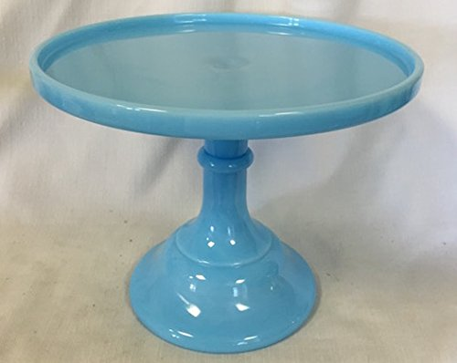 Cake Plate Round Plain & Simple Mosser Glass (9 IN, Robin Egg Blue / Blue Milk) Bonnie Blue Patterns