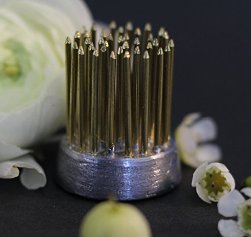 "Metal Flower Frog Pin Holder Kenzan 1.25 inch. No-Rust, Extra-Long Brass Pins Perfect for Ikebana Flower Arranging and Pottery. Made in The USA. (1-1/4"", Natural)"