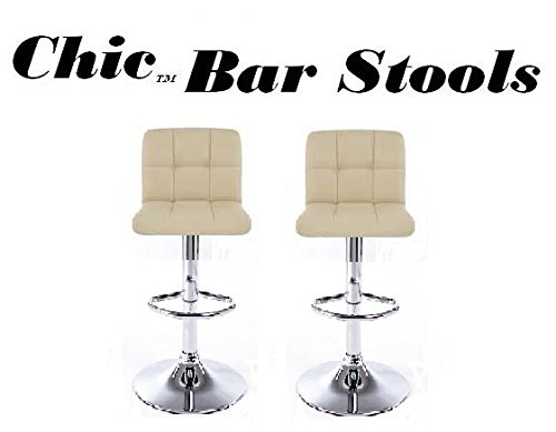 South Mission Chic Modern Adjustable Synthetic Leather Swivel Bar Stools - Creme - Set of 2 by South Mission