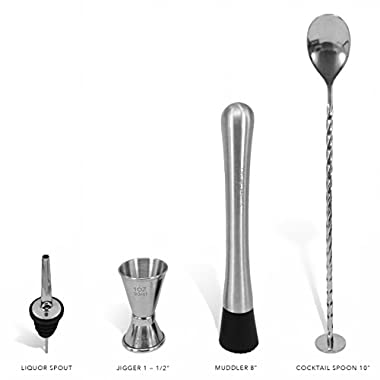 Bar Tool Essentials - Set of 4 Crafted Stainless Steel Bar Tools by Trendy Bartender™ - Muddler, Cocktail Spoon, Jigger and Liquor Pourer (4 Bar Essentials)