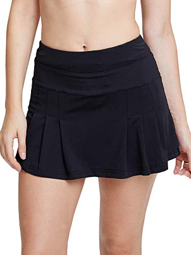 Women's Active Athletic Skort with Pocket Lightweight Skirt with Inner Shorts Perfect for Running Tennis Golf Workout Black Tag L-US S -