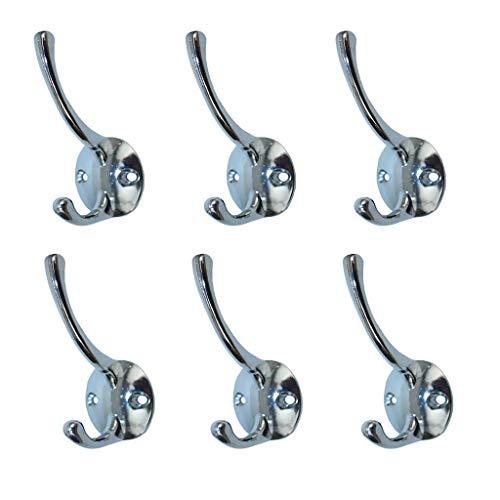 6Pcs Zinc Alloy Coat Towel Clothes Hanger Hook Holder Wall Door Decor Silver