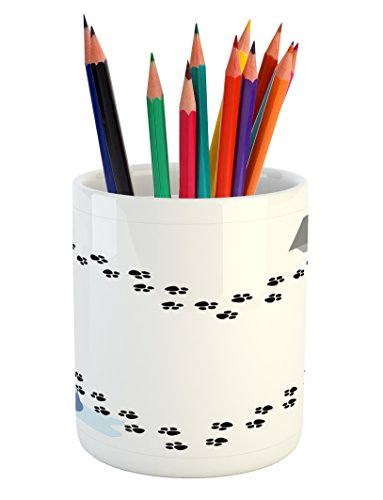 (Lunarable Dog Lover Pencil Pen Holder, Puppy Love Heart Shaped Trail of Paw Prints Bone Kennel Water Drops, Printed Ceramic Pencil Pen Holder for Desk Office Accessory, Grey Black White Blue)