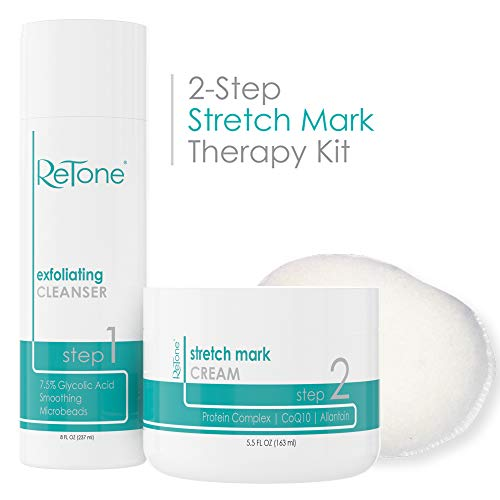ReTone Stretch Mark Removal: Comprehensive Stretch Mark Treatment (Stretch Mark Cream + Body Cleanser + Body Scrubber)
