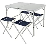 KingCamp Folding Camping Table Stool Suit, Adjustable Portable Lightweight Compact Picnic Table with 4 Fishing Stools,for Indoor or Outdoor Party & Activities, Aluminum Review