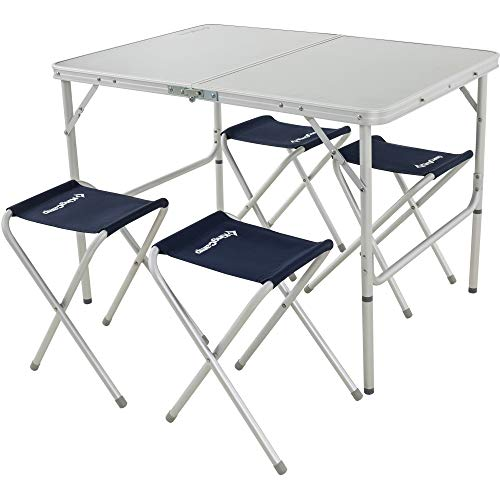 KingCamp Folding Camping Table Stool Suit, Adjustable Portable Lightweight Compact Picnic Table with 4 Fishing Stools,for Indoor or Outdoor Party & Activities, Aluminum ()