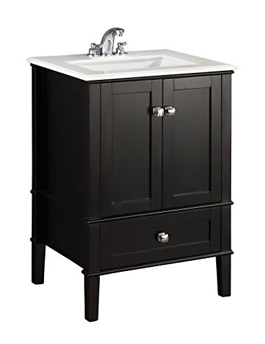 Simpli Home NL-ROSSEAU-ES-24-2A Chelsea 24 inch Contemporary Bath Vanity in Black  - Mirrored Vanity Sink 24 Bathroom