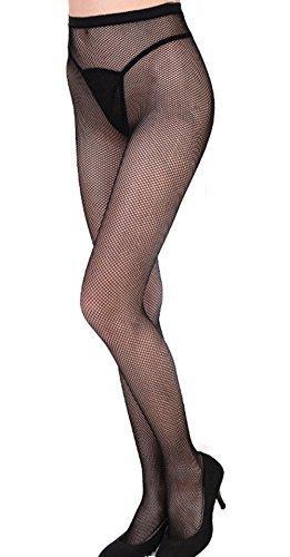 Women's Sexy High Waist Tight Sparkle Rhinestone Fishnet Stockings Pantyhose (One-size, Small mesh) by Kuyuansu