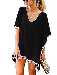Jiuhexuj Women Perspective Stripe Print Tassel Swimsuit Cover Up Beach Dress
