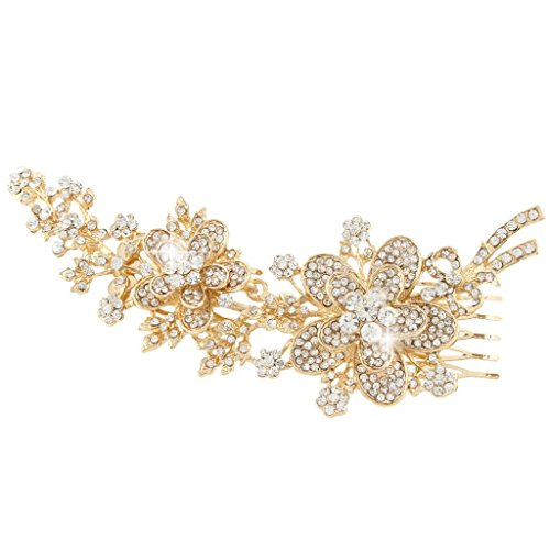 (EVER FAITH Austrian Crystal Flower Bow Long Bridal Hair Comb Clear Gold-Tone)