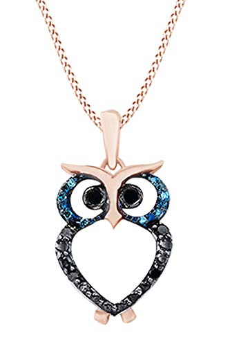 Mothers Day Jewelry Gifts Round Blue & Black Natural Diamond Accent Owl Pendant Necklace in 14K Rose Gold Over Sterling Silver