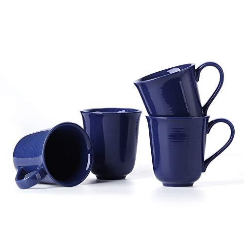 Coffee Mug Ceramic Cup - 10 Ounce Mug Set for Coffee, Tea, Cocoa, Milk, Set of 4, True Blue, LE ()
