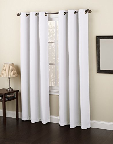 Gorgeous Home *DIFFERENT SOLID COLORS & SIZES* (#86) 1 PANEL SOLID FOAM LINED BLACKOUT JACQUARD WINDOW CURTAIN DRAPES BRONZE GROMMETS (WHITE, 84' LENGTH)